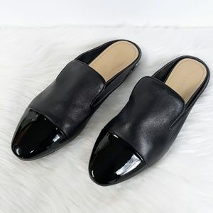 Marc Fisher Black Leather Patent Toe Studded Mules